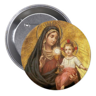 Our Lady Help of the Blessed Sacrament w/Jesus Pinback Button
