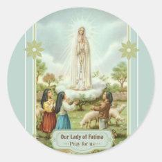 Our Lady Of Fatima Children Sheep Classic Round Sticker at Zazzle