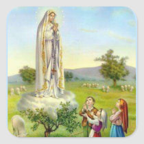 Our Lady of Fatima Children Sheep Square Sticker