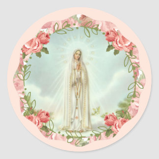 Our Lady of Fatima Pink Roses Classic Round Sticker