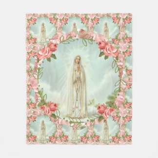 Our Lady of Fatima Pink Roses Fleece Blanket