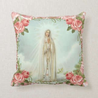 Our Lady of Fatima Pink Roses Throw Pillow