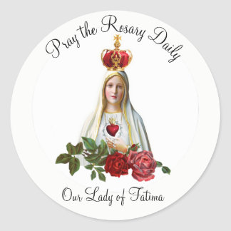 Our Lady of Fatima Roses Rosary Crown Classic Round Sticker