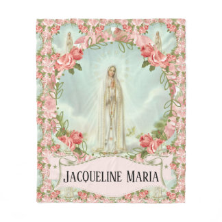 Our Lady of Fatima Virgin Mary w/Pink Roses Fleece Blanket
