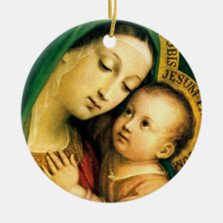 our lady of good counsel Double-Sided ceramic round christmas ornament