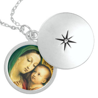 our lady of good counsel round locket necklace