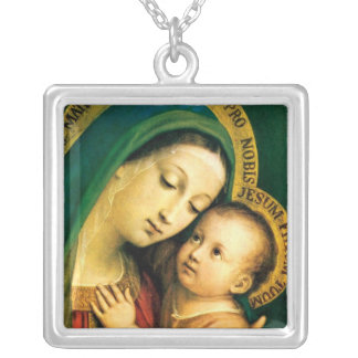 our lady of good counsel square pendant necklace