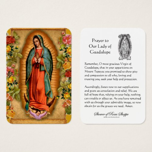 Our Lady of Guadalupe Prayer Holy Card