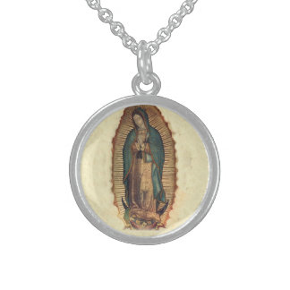 Our Lady Of Guadalupe Virgin Mary Sterlng Silver Round Pendant Necklace