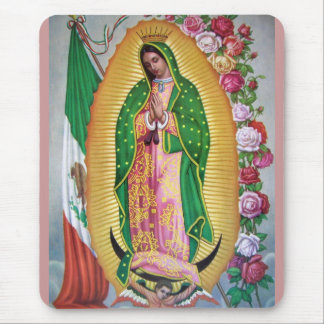 Our Lady of Guadalupe with Mexican Flag Mousepad