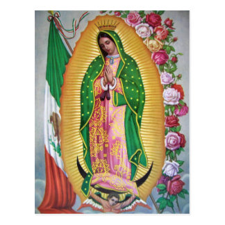 Our Lady of Guadalupe with Mexican Flag Postcard