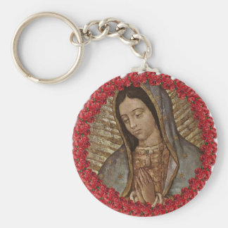 OUR LADY OF GUADALUPE WITH SPANISH ROSES KEYCHAIN