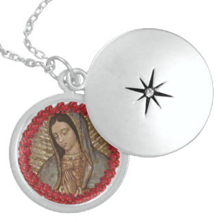 OUR LADY OF GUADALUPE WITH SPANISH ROSES STERLING SILVER NECKLACE