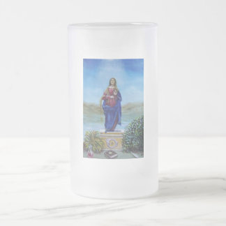 OUR LADY OF LIGHT 16 OZ FROSTED GLASS BEER MUG