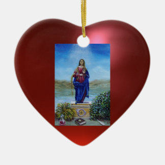 OUR LADY OF LIGHT Double-Sided HEART CERAMIC CHRISTMAS ORNAMENT