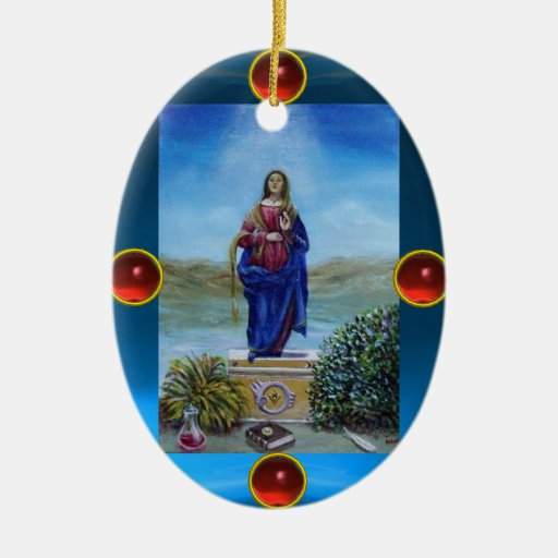 OUR LADY OF LIGHT Double-Sided OVAL CERAMIC CHRISTMAS ORNAMENT