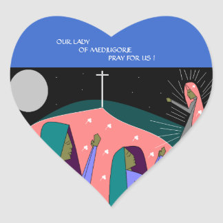 OUR LADY OF MEDJUGORJE PRAY FOR US ! HEART STICKER