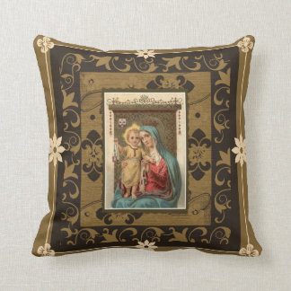 Our Lady of Mount Carmel with Baby Jesus  Scapular Throw Pillow