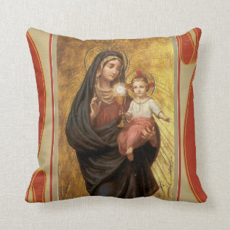 Our Lady of the Blessed Sacrament Virgin Mary Jesu Throw Pillow
