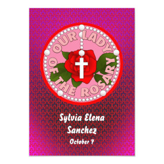 """Our Lady of the Rosary Invite 5"""" X 7"""" Invitation Card"""