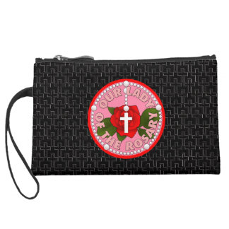 Our Lady of the Rosary Suede Wristlet Wallet