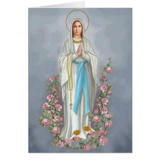 Our Lady of the Rosary w/roses Card