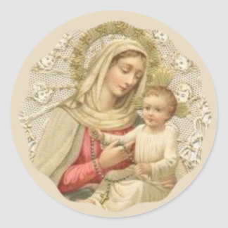 Our Lady of the Rosary with the Baby Jesus Classic Round Sticker