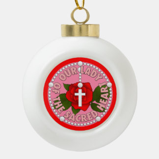 Our Lady of the Sacred Heart Ceramic Ball Christmas Ornament