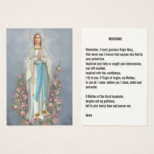 Our Lady Rosary Lourdes Memorare Prayer Holy Card