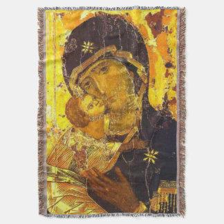 Our Lady Virgin Mary of Vladimir Throw Blanket