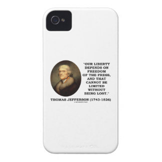 Our Liberty Depends On Freedom Of Press Jefferson Case-Mate iPhone 4 Case