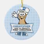 Our Lil Peanut's First Christmas (blue) Double-Sided Ceramic Round Christmas Ornament