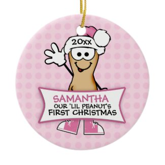 Our Lil Peanut's First Christmas (pink) Christmas Ornament
