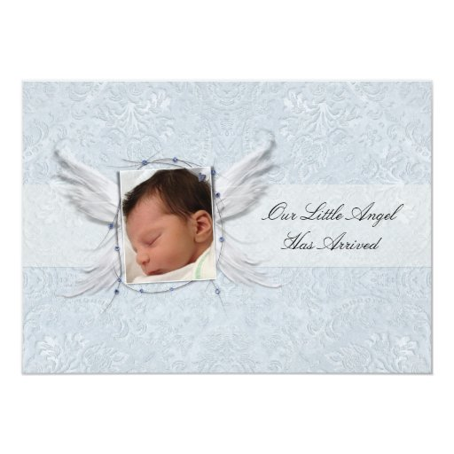 """Our Little Angel Wings Birth Announcement 5"""" X 7"""" Invitation Card"""