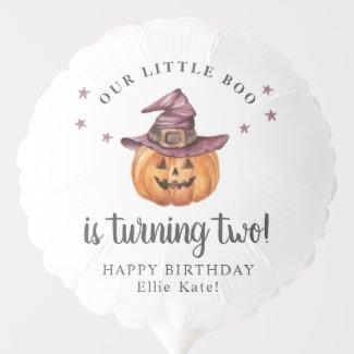 Our Little Boo Halloween Birthday Balloon