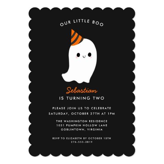 Our Little Boo Kids Halloween Themed Birthday Invitation