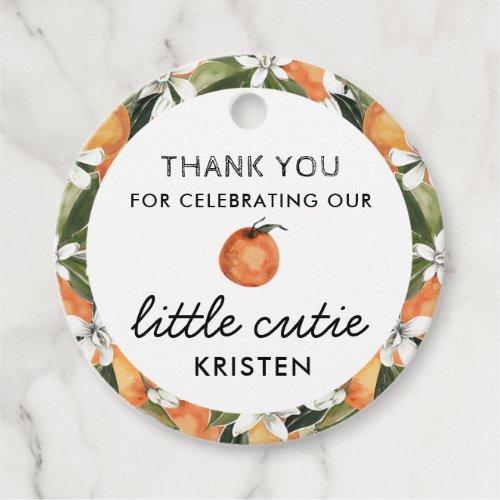 Our Little Cutie Orange Baby Shower Favor Tags