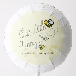 Our Little Hunny Bee Yellow Girl Birthday Balloon