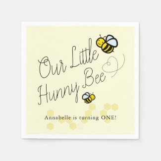 Our Little Hunny Bee Yellow Girl Birthday Paper Napkins