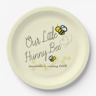Our Little Hunny Bee Yellow Girl Birthday Paper Plate