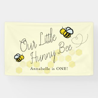 Our Little Hunny Bee Yellow Girl Birthday Welcome Banner