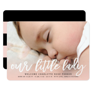 Personalized baby gifts baby products zazzle announcements our little lady baby girl photo birth announcement negle Image collections