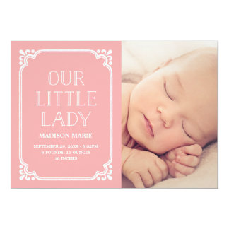 Our Little Lady | Rustic Birth Announcement