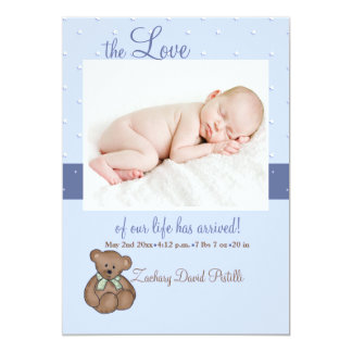 Our Little Love Blue Photo Birth Announcement