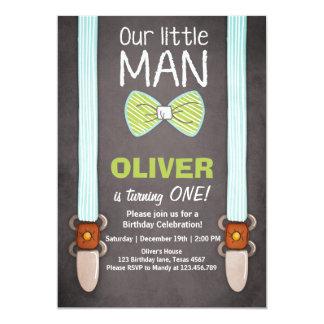 Our Little Man Birthday Invitation Boy Bow Tie