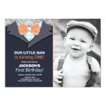 Our Little Man Birthday Invitation Boy Bow Tie