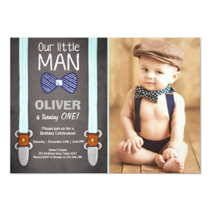 Our little man 1st birthday invitations zazzle our little man birthday invitation boy bow tie filmwisefo