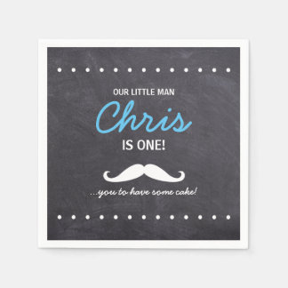 """Our Little Man is one! """"Mustache' you to have cake Napkin"""