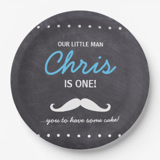 Our Little Man is one! Mustache you to have cake Paper Plate