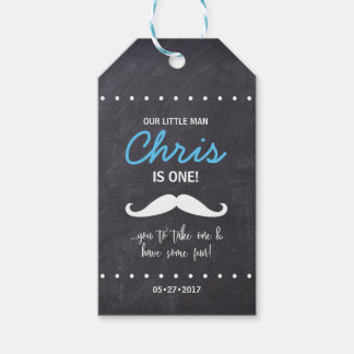"""Our Little Man is one! """"Mustache' you to take one Gift Tags"""